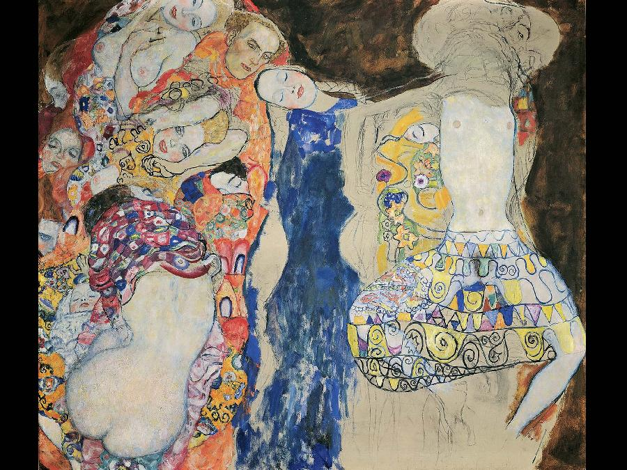 E' nell'ultimo periodo della sua vita che l'attenzione per l'arte bizantina in #Klimt ebbe un ruolo primario, con affascinanti richiami al mosaico, i cui splendidi colori contrastano con lo sfondo nero in maniera quasi disturbante.  #MuseoIdeale La Sposa, 1917-18 Klimt-Foundation