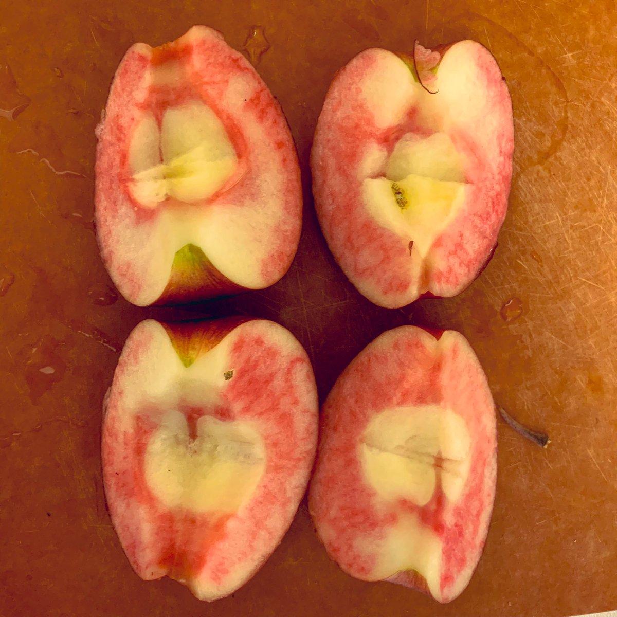 RT @kakijiro: シンカイでもらったリンゴ切ったら、中が真っ赤で驚いた。長野の新しいリンゴのやつだ。ちゃんと甘くて美味い。 https://t.co/ZFHWsSbKqg