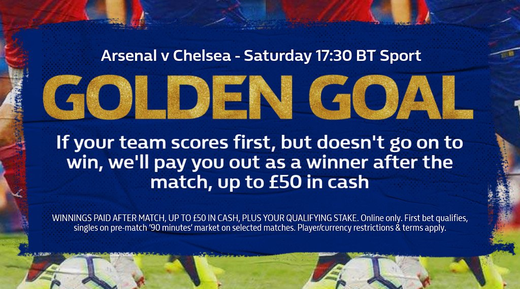 🚨Final Reminder for Golden Goal 🚨  Back a team in the '90-minute' market & if they score first you'll be paid out as a WINNER 💰💰💰  🔴 Arsenal v Chelsea 🔵  Chehttps://t.co/VHxGqkU5jTck out the terms here  👉   👈https://t.co/5BOTjUOXQQ   #GoldenGoal#ThisIsMore