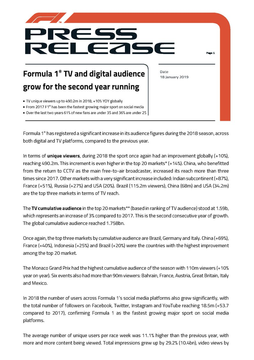 Formula 1® TV and digital audience grow for the second year running #f1 #tv #audience #digital #pressreleases