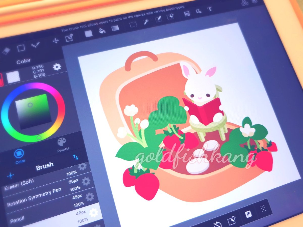 I realised I have been drawing a lot of bunnies recently ; ; They&#39;re so fun to draw!! This is a #wip for a fruit garden series I will be making, I plan to release one every season  <br>http://pic.twitter.com/PNPRzIzDZS