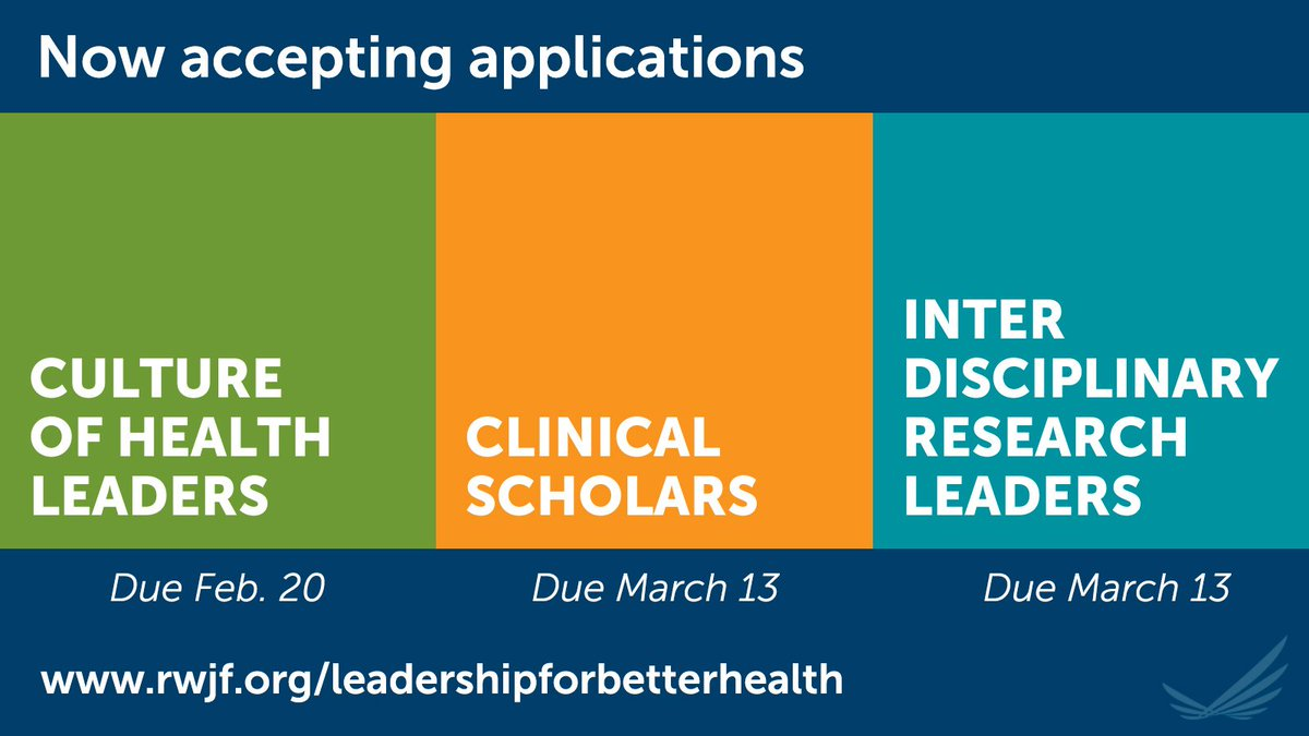 To build a #CultureofHealth—in which everyone experiences the best possible well-being—we need collaborative, innovative leaders from EVERY field. Applications now open for @CSPfellows, @CultureofHlthLd, @IRLeaders. Get leadership development and funding. https://rwjf.ws/2A5vf5C