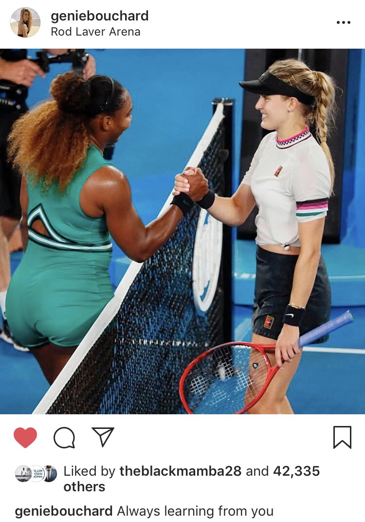 Great attitude (and great pic!) from Genie after her match with Serena. Never stop improving 💪 #AusOpen