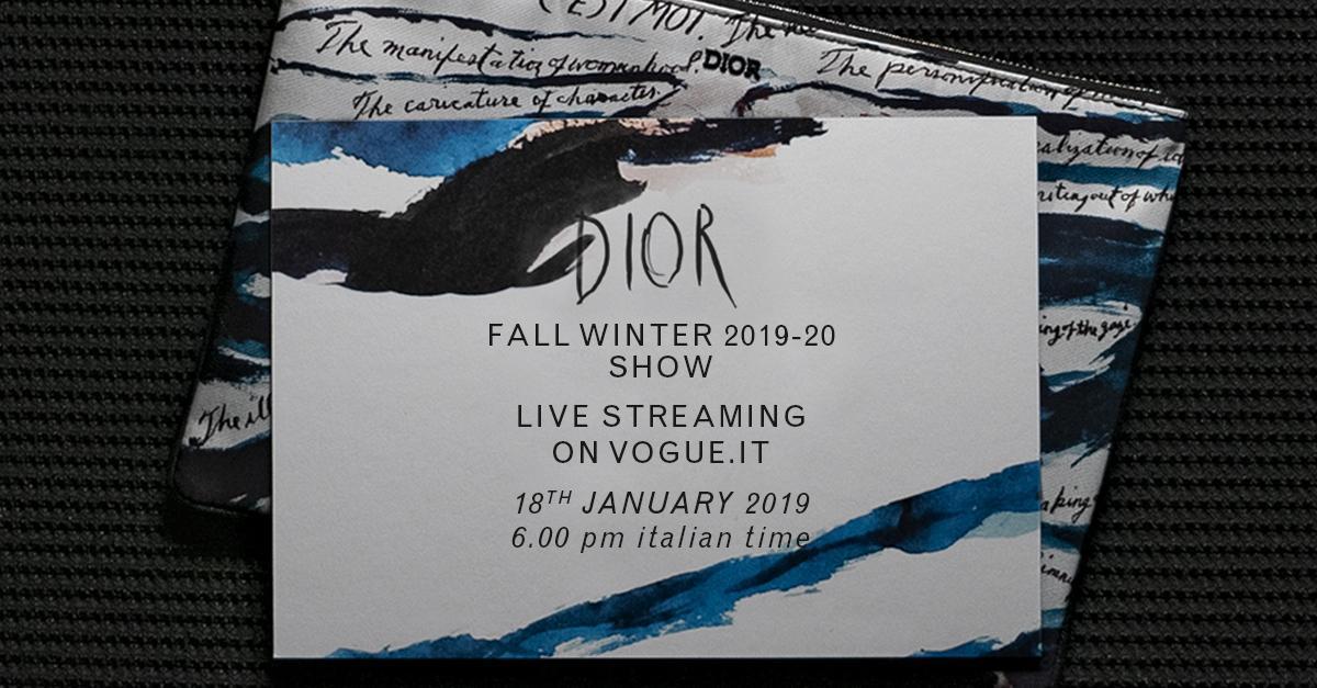 Non perdete oggi alle 18.00 la sfilata di @Dior in diretta da Parigi @mrkimjones #DiorWinter19 https://t.co/yVXQCI81my
