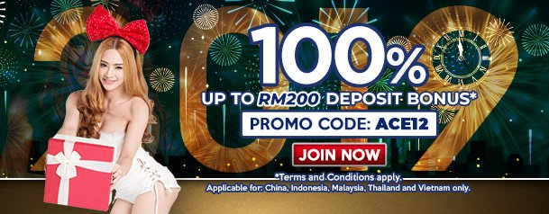 It's our ACE12 Promo! This means you'll get 100% DEPOSIT BONUS when you join #SBOBET today!  Details here: https://goo.gl/kNQtLQ