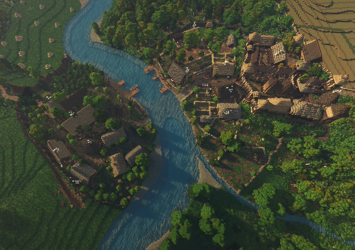 A raven&#39;s view of the village at Old Ford.  #LOTR #WeAreConquest #Minecraft<br>http://pic.twitter.com/yrQftieUIc