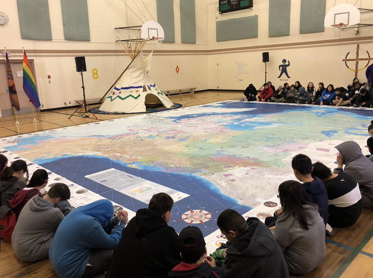 Very cool announcement here at Ben Calf Robe School. Every Alberta junior & senior high school will be given the Canadian Geographic Indigenous Peoples Atlas. This is another important way to help students learn First Nations, Métis and Inuit history & perspectives. #ableg #abed