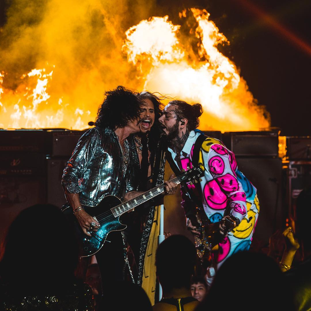 #FBF to the last time @Aerosmith and @PostMalone brought the 🔥 to the stage. Don't miss out when they reunite on Friday, February 1st in Atlanta… grab tickets at http://bit.ly/superbowlmusicfest …  #BudLight #SuperBowlMusicFest