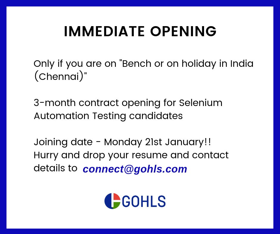 test Twitter Media - #Immediate #job #opening #Selenium #Testing #ITbench #staffing #hiring #gohls #FFI https://t.co/2j85kxK009