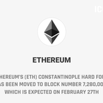 Image for the Tweet beginning: Ethereum's (ETH) Constantinople hard fork