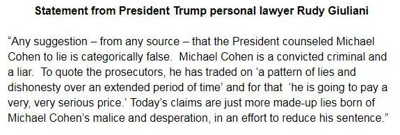 Trump lawyer Giuliani: 'Any suggestion – from any source – that the President counseled Michael Cohen to lie is categorically false' and 'today's claims are just more made-up lies born of Michael Cohen's malice and desperation, in an effort to reduce his sentence.""