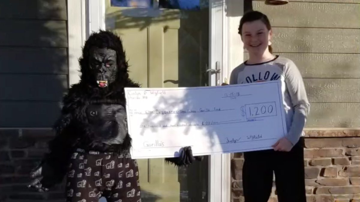 Evelyn is only 10 years old, and sold ornaments she made to raise $1,200 for The Ellen Fund. That's why she's our Donor of the Week! #WeNeedGorillas