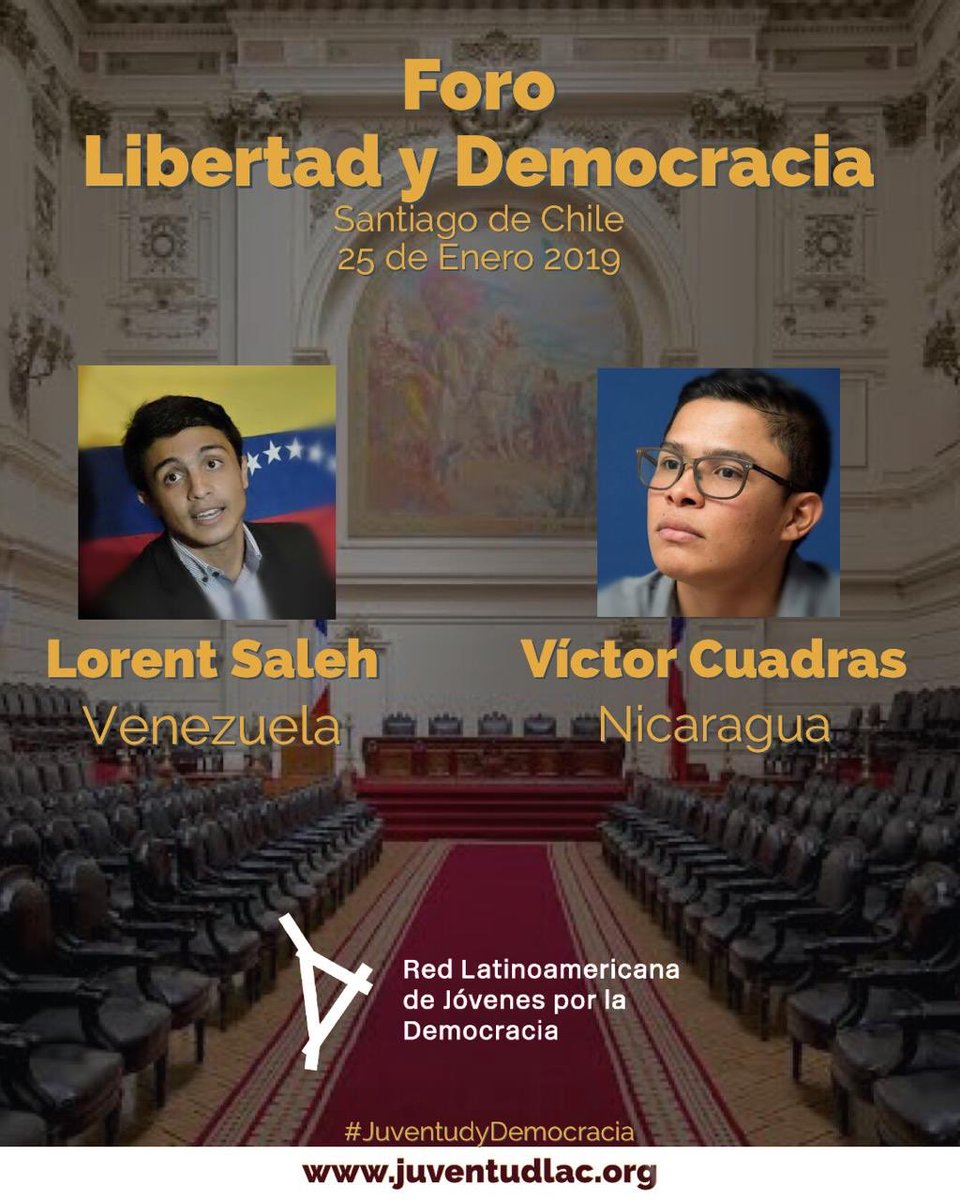 As always, we're excited to see another inspiring event held by our regional partner @JuventudLAC. Next Friday, youth leaders @AndinoCuadras and @LORENT_SALEH will discuss the youth movement for democracy in Latin America, drawing from their experiences in Nicaragua and Venezuela