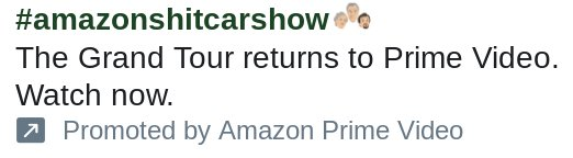 "I cannot be the only one who read this hashtag as ""Amazon shit cars how"" and then ""Amazon shit car show"" before what's supposed to say. This was not good thinking in a promoted tweet, Amazon."