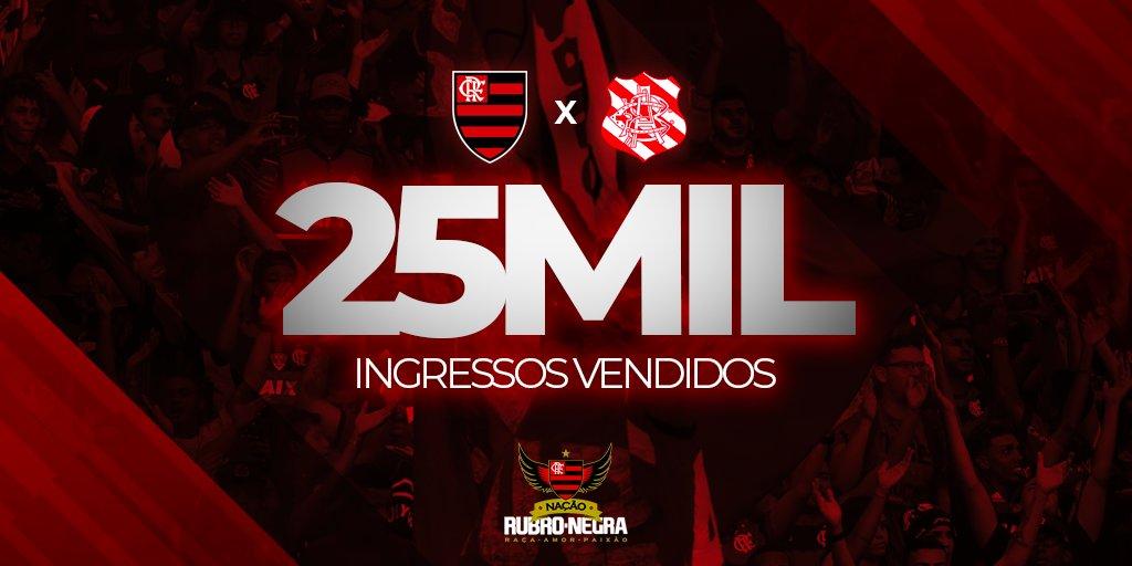 25 mil ingressos já foram vendidos para Flamengo x Bangu, estreia do Campeonato Carioca 2019! A Nação ainda pode garantir suas entradas pelo site https://t.co/JpZbLhjJZw  ou nos postos de venda espalhados pelo Rio. Quem é do @NacaoCRF tem direito a comprar dois ingressos extras.