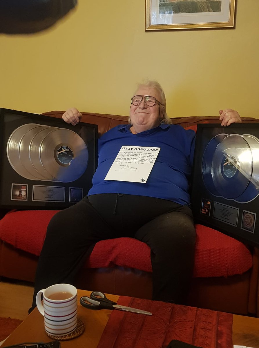 I'm so glad that Lee Kerslake is enjoying his Blizzard and Diary platinum albums. I hope you feel better.   Love, Ozzy
