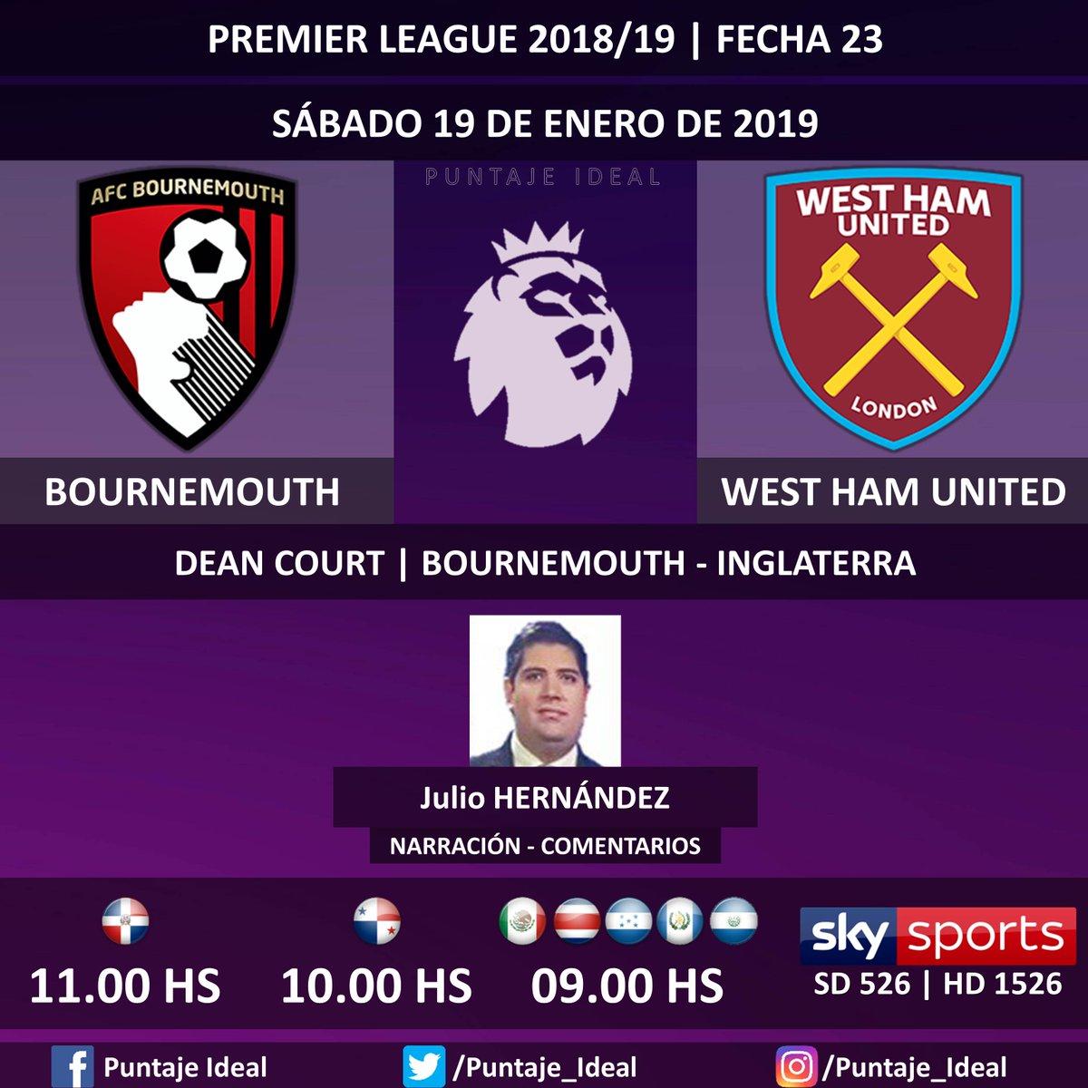 ⚽ #FútbolPorSKY   #Bournemouth vs. #WestHamUnited  🎙 Narración y comentarios: @jhdez85  📺 TV: #SKYSports (526 - 1526 HD) 🤳 @futbolporsky - #PremierLeague 🏴 - #BOUWHU  Dale RT 🔃