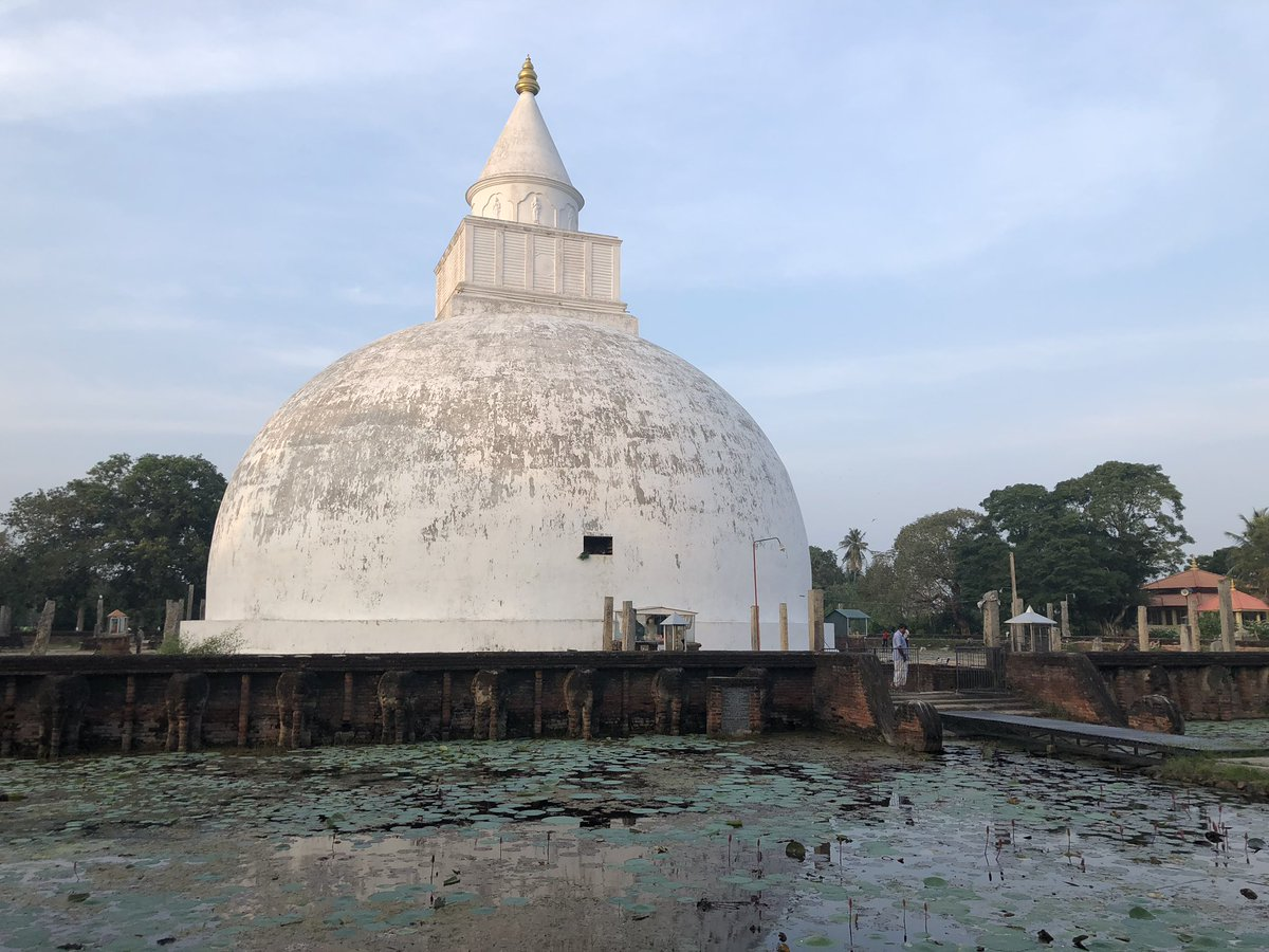 Buddhist stupa surrounded by a lotus pond, at Tissamaharama in southern Sri Lanka 🇱🇰