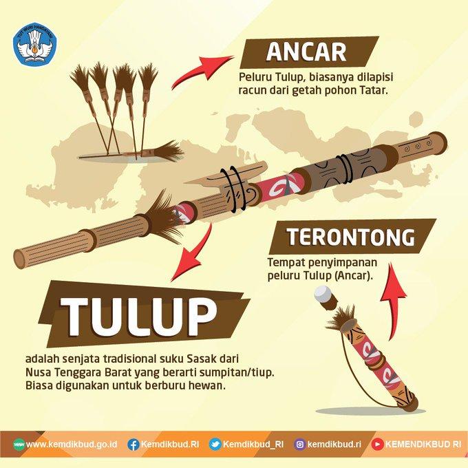 Warganet, masih ingatkah dgn senjata tradisional Tulup yg berasal dr Nusa Tenggara Barat ini! Di beberapa daerah lain jg memiliki senjata tradisional dgn bentuk & fungsi serupa. Kalau di daerah asal Kamu apa namanya? Via @Kemdikbud_RI #ElshintaWeekend Photo