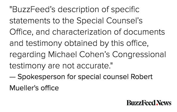 UPDATE: A spokesperson for the special counsel is disputing BuzzFeed News' report. https://t.co/BEoMKiDypn