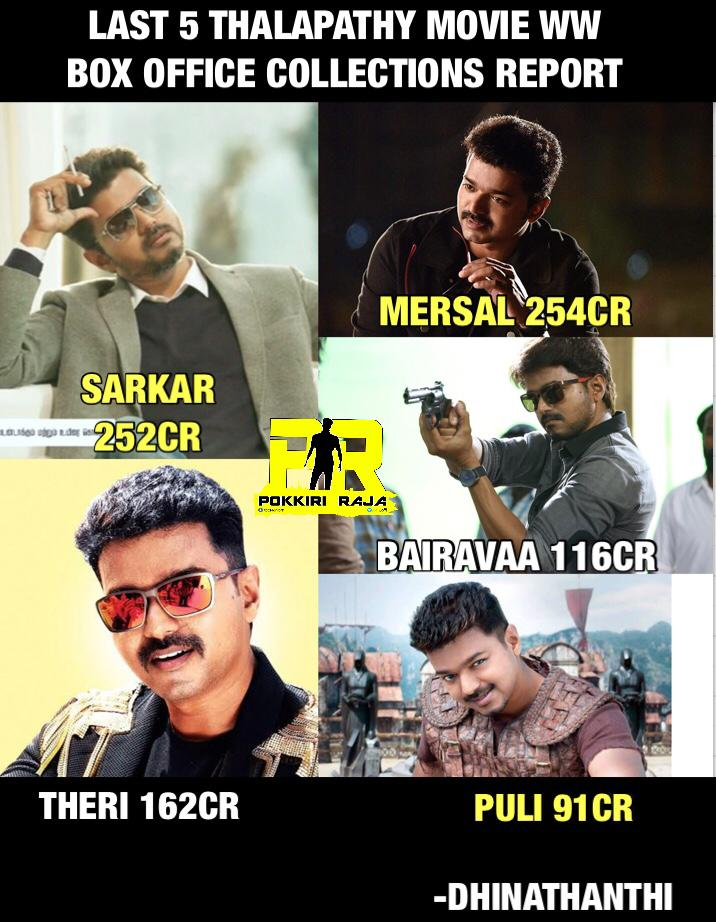 #kingoftnbothalapathyvijay Last Five Movies Collection #Vijay Regards From Pakistan  <br>http://pic.twitter.com/fQPC3yxcf3