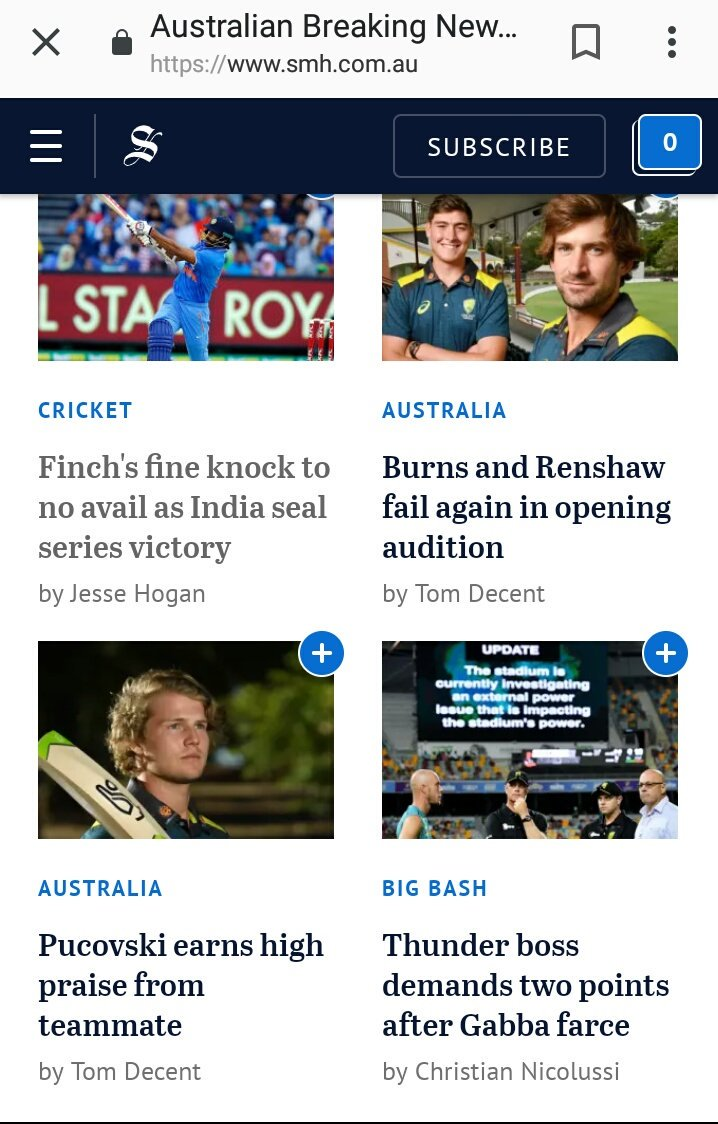 Hmm @smh why is your home page showing me a cricket article from 2016? #AusvIndia #AUSvsIND https://t.co/luLnYFPAt7