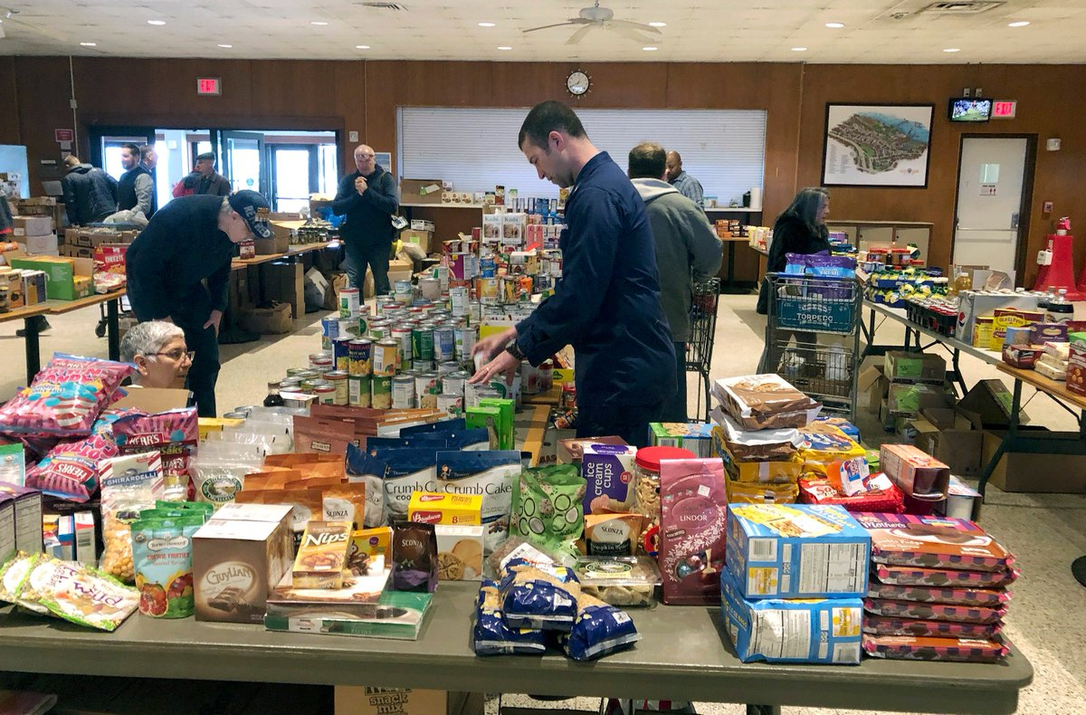 It's now day 28 of the shutdown.  This pop-up food pantry was set up at the U.S. Coast Guard Academy in Connecticut to help workers impacted by the shutdown.
