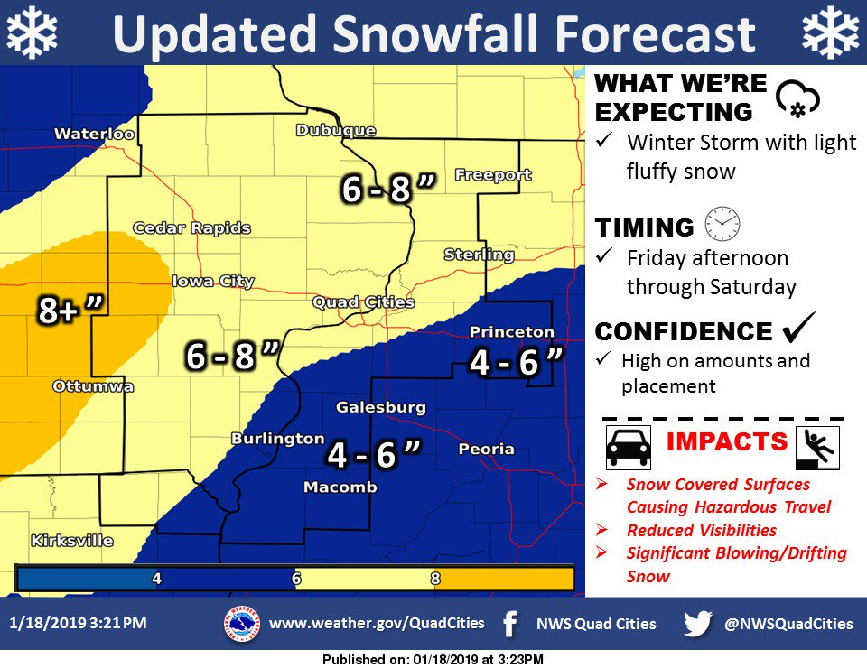Updated snowfall forecast graphic. Remember with ice and snow, take it slow! #iawx #ilwx #mowx