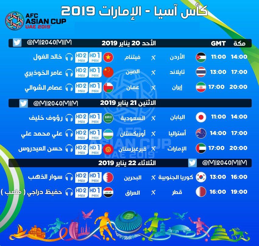 جدول المباريات On Twitter جدول معلقي مباريات دور ال16 من كاس اسيا على Bein Sports