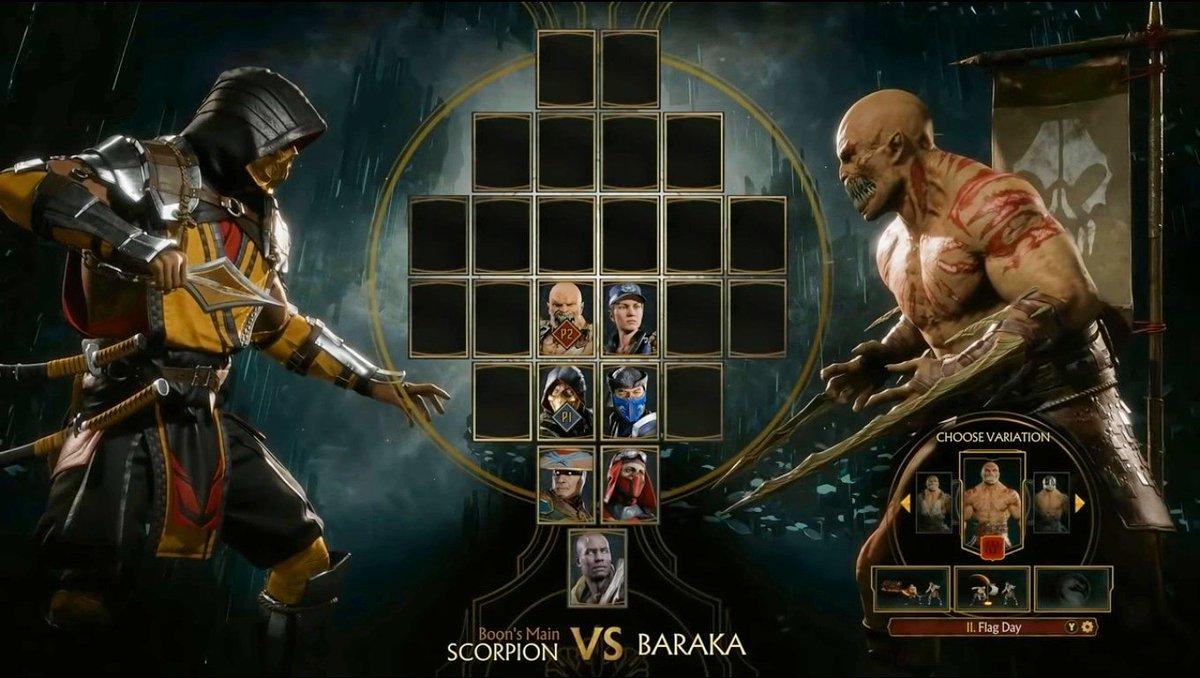 MK11 Charakter Select Screen: Scorpion Vs  Baraka  You'