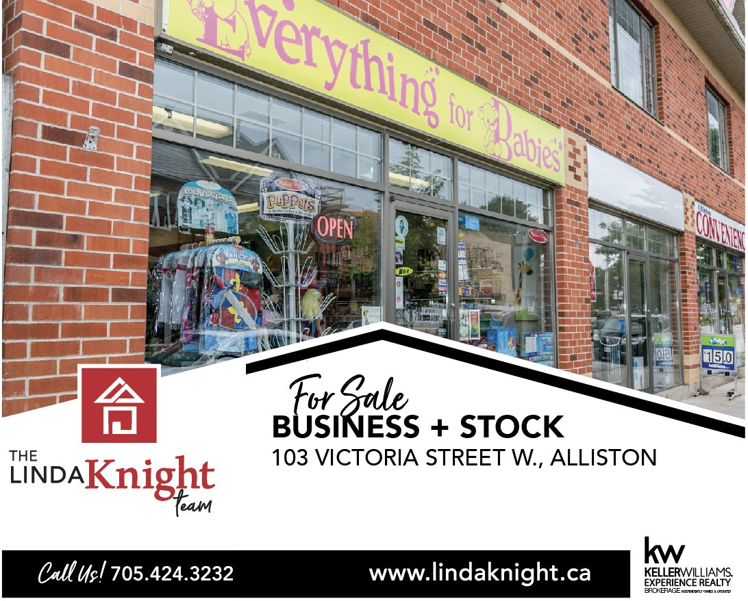 Incredible opportunity to be your own boss with this well respected, thriving business on the main street of Alliston!   MLS#: 30619653 | 103 Victoria St. W., Alliston | $69,900 plus stock  #TheLindaKnightTeam  #Alliston #Business #BeYourOwnBoss #BusinessForSale  #BabyMerchandise <br>http://pic.twitter.com/95M14jeFFm