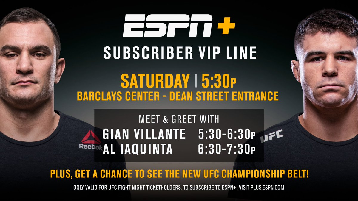 Going to @BarclaysCenter tomorrow night?  Join @ESPN+ for an exclusive VIP line. #UFCBrooklyn