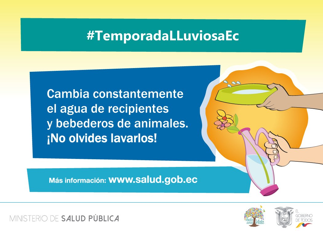 ¡Lava bien tus recipientes! Evita que aparezcan mosquitos en tu hogar. #TemporadaLluviosaEc