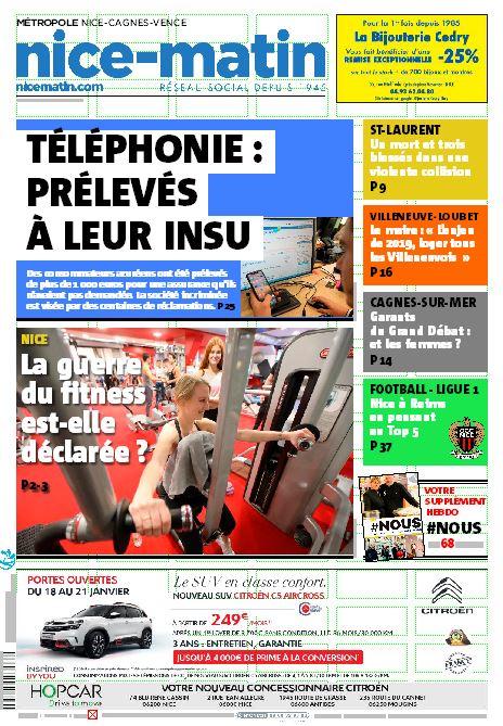 La Une Nice-Matin édition Nice du samedi 19 janvier 2019