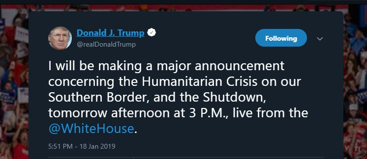 BREAKING: Trump says he will make a 'major announcement' regarding southern border tomorrow at 3p ET https://t.co/iRU2a69LZo