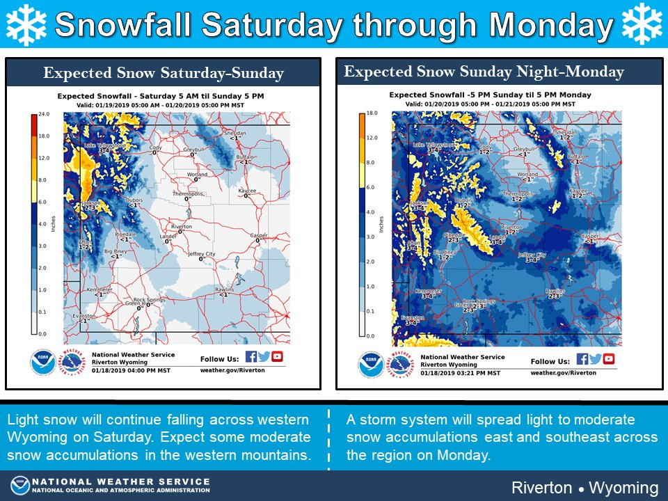 Two storm systems will affect western Wyoming through Sunday and the second storm will move across western and central Wyoming on Monday. Attached are potential snow amounts from Saturday through Monday for the area. #wywx #wyoroad