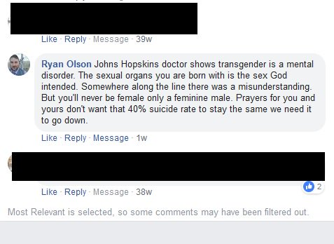 Hey @CourtesyChevCom, did you know your sales associate Ryan Olson is leaving transphobic comments on Facebook with your company name there for all to see? It might be good to chat with your staff about respect for others and responsible social media practices.<br>http://pic.twitter.com/WWdfTL5DMd