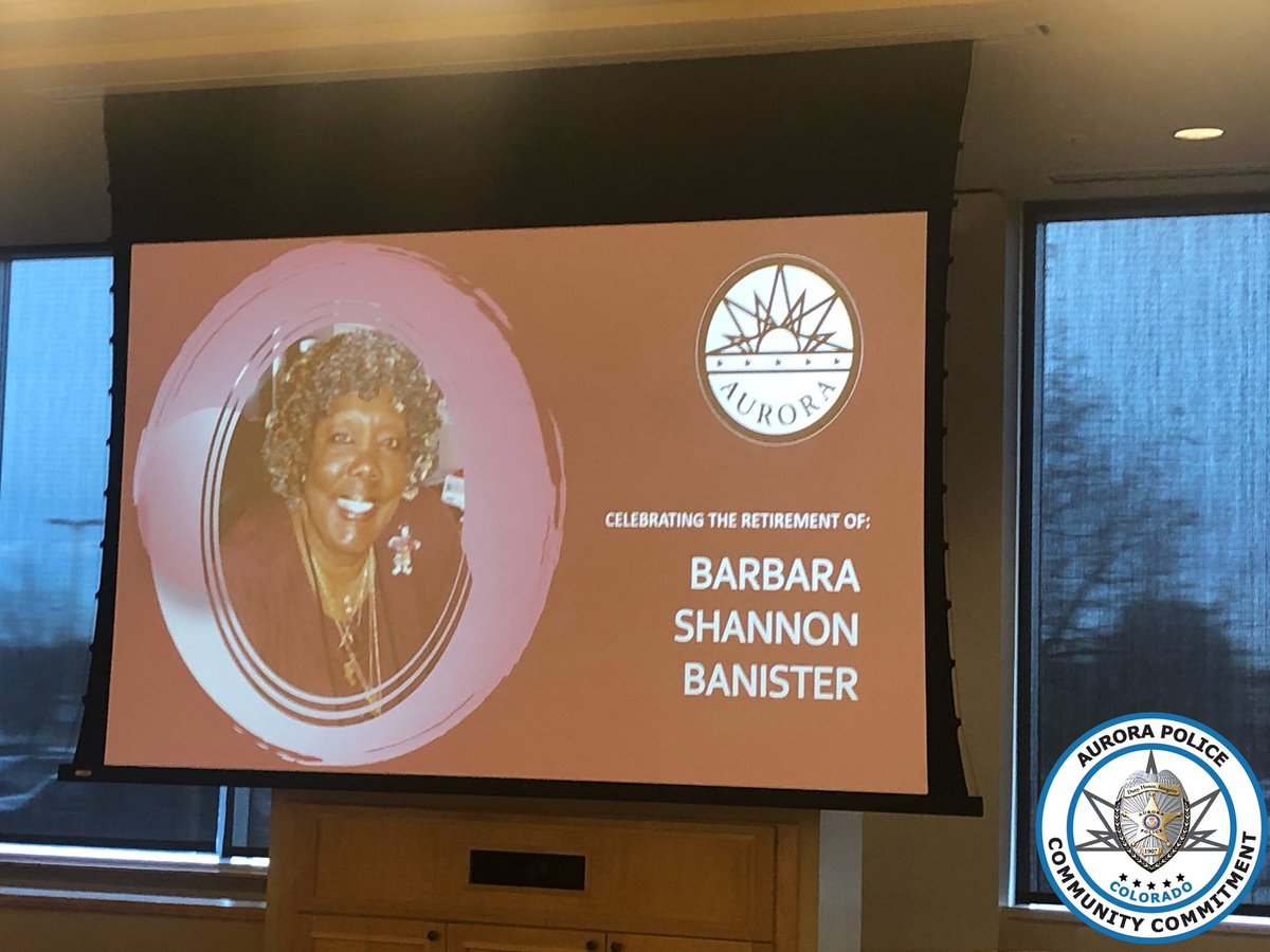 Congratulations to Dr. Barbara Shannon-Banister for retiring after her 36 years of commitment to the City of Aurora. @AuroraGov @APDChiefMetz