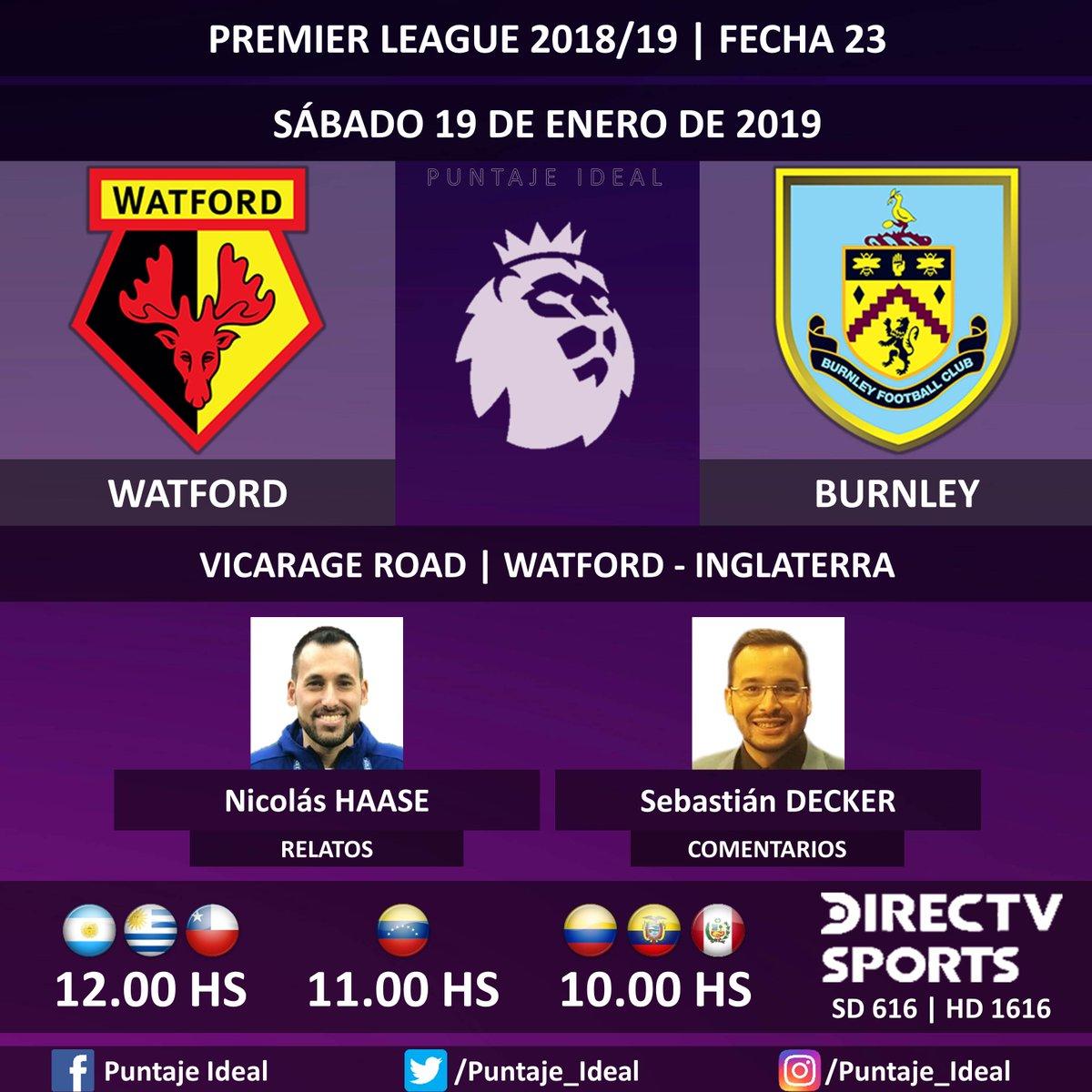 ⚽ #FútbolEnDIRECTV | #Watford vs. #Burnley 🎙 Relatos: @haasenico  🎙 Comentarios: @SebasDecker  📺 TV: @DIRECTVSports Sudamérica (616 - 1616 HD) - #Torneos 🤳 #SoySportista - #PremierLeague 🏴 - #WATBUR  Dale RT 🔃