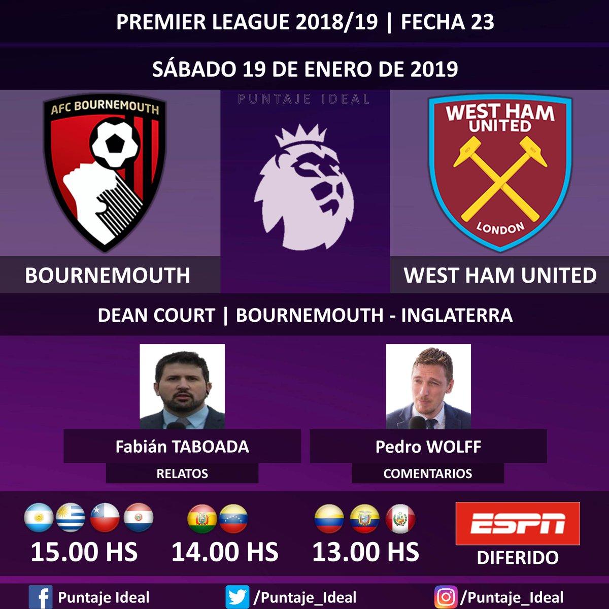 ⚽ #PREMIERxESPN   #Bournemouth vs. #WestHamUnited  🎙 Relatos: @FabiTaboadaok  🎙 Comentarios: @WolffPedro  📺 #ESPN Sudamérica -DIFERIDO- 🤳 #ESPNesHD - #PremierLeague 🏴 - #BOUWHU  Dale RT 🔃