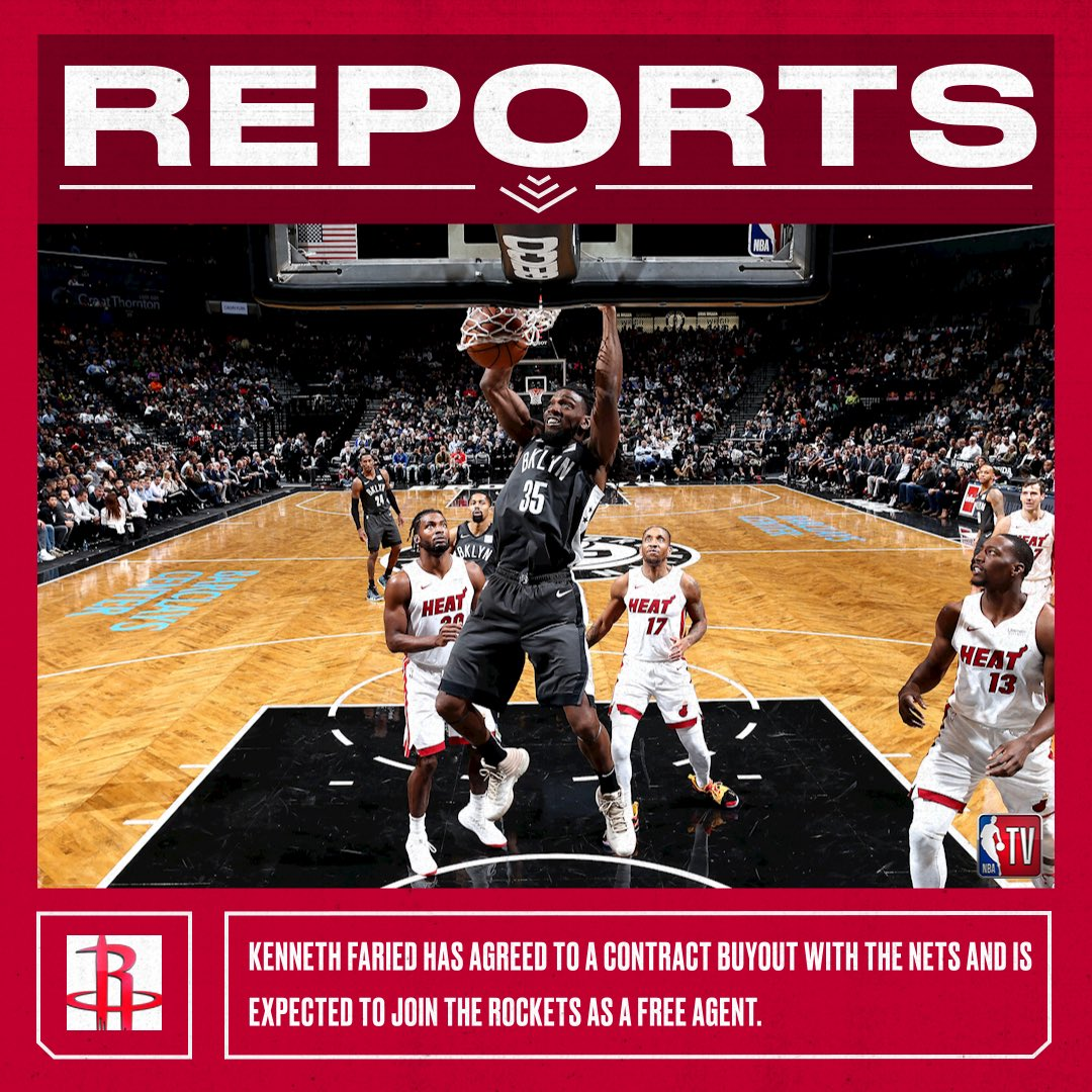 Kenneth Faried and the Nets have reportedly agreed on a buyout. Faried is expected to join the Rockets as a free agent. (Via ESPN)