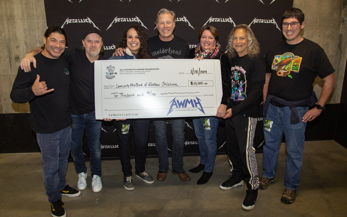 Metallica is back on the road &amp; we're back with local food bank donations! A portion of every ticket sold for #MetInTulsa tonight helped raise this money for @okfoodbank to assist them in providing food security, with dignity, for all eastern Oklahomans. #MetallicaGivesBack #AWMH<br>http://pic.twitter.com/GDgywVx1od