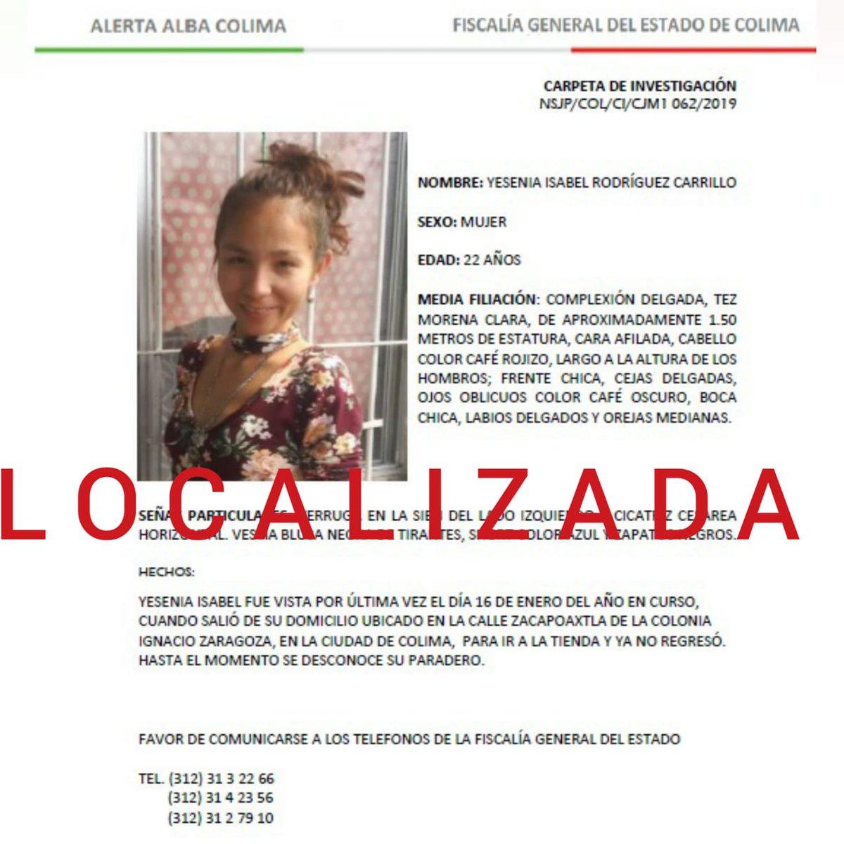 "Alba Carrillo Altura fiscalía colima on twitter: ""yesenia isabel rodríguez"