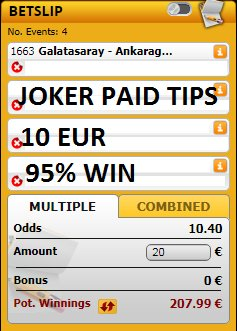 http://jokerpaidtips.blogspot.com                                  We have 4 games with 10 ODD for #TODAY 19/01/2019, all the games are for just 10 EUR  #inplay #YourOdds #RequestABet #bets #tips #betting #InPlaywithRay #PL #EFL #BestAccaAround #PriceItUp #livebet #UCL #UEL #picks #Matchday