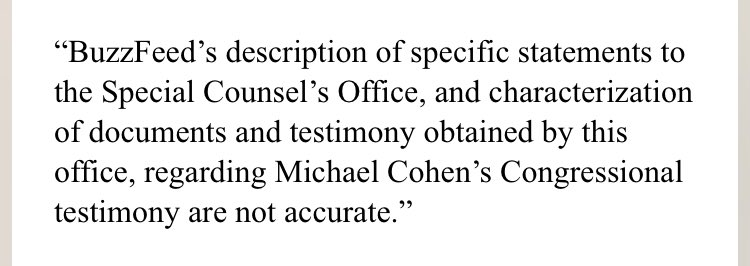 A rare on-the-record statement from Special Counsel Mueller's office, pushing back on @BuzzFeed story:
