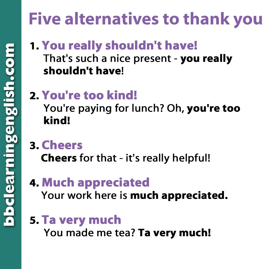 ☺️ Who would you like to say thank you to?  ☺️What for?  These five alternatives will give you more ways to show people they are much appreciated!  #bbclearningenglish #english_vocabulary #thankyou