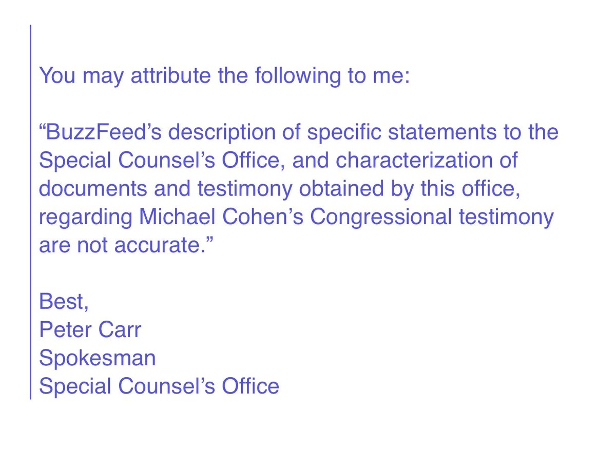 In a rare public statement, Robert Mueller's office puts a bullet in the Buzzfeed Michael Cohen story