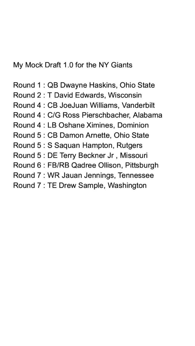Hey guys so i did 2 Mock Drafts for the #NYGiants let me know what you guys think   @NYGDaily @GiantInsider @GiantsNationNYC @roneffect<br>http://pic.twitter.com/mRKTZEZ9HC
