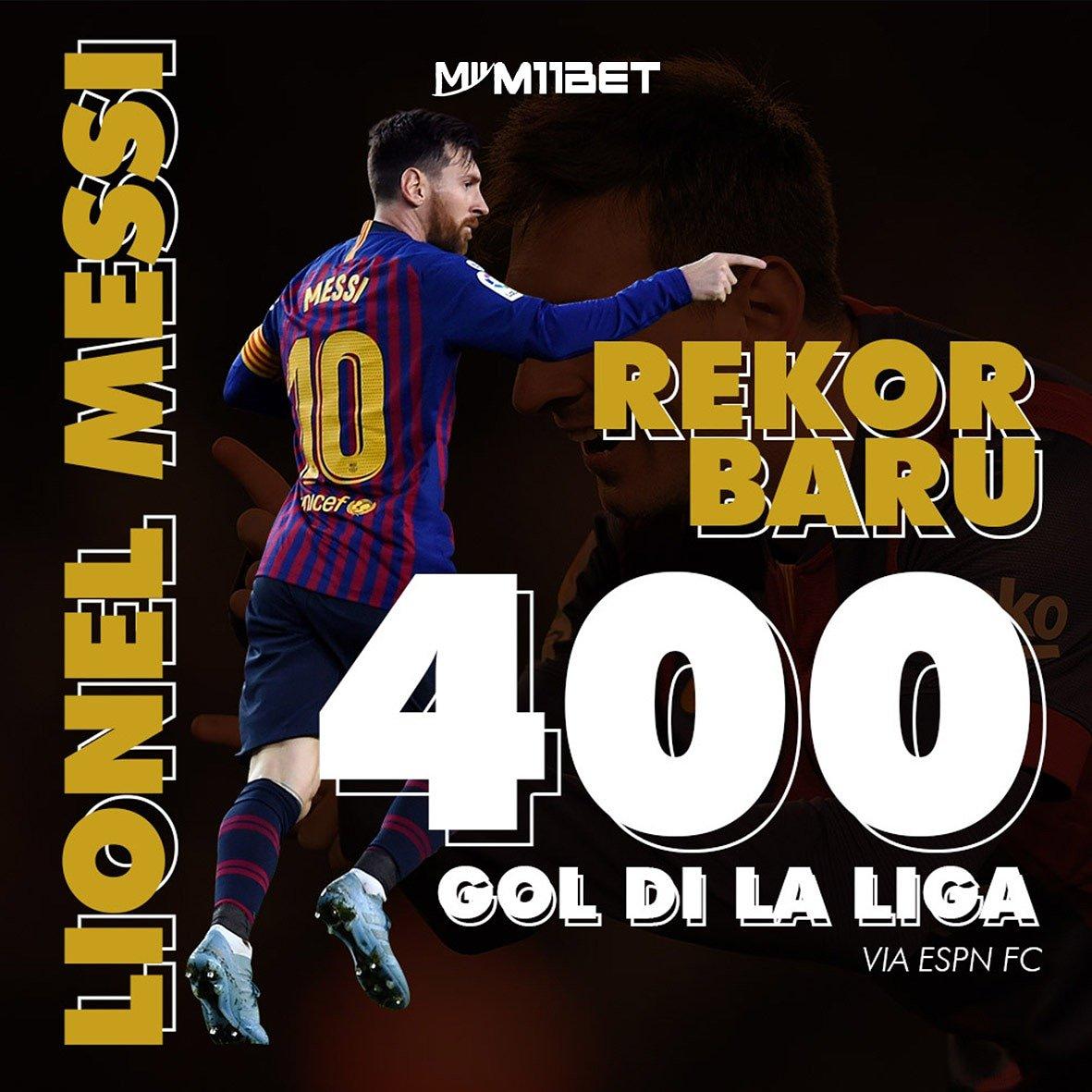 #lionelmessi memecahkan rekor dengan membuat 400 #gol 🤩🤩 Kalau #legenda memang beda ya! 🤭  #m11 #m11betjuara #juara #m11bet #messi #messi10 #top #infobola #seputarbola #bola #sepakbola #rekor #agenbolaonline #judionlineresmi #judibolaterpercaya #fcb #fcbarcelona #barcelona