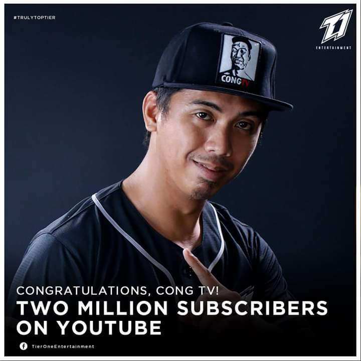 &quot;Cong TV could have taken a rest with all the success he&#39;s achieved, but no. He&#39;s going harder than ever this year. 2 million subscribers and counting!   #TrulyTopTier #PAAWER&quot;  - Official Facebook page of Tier One Entertainment   SALAMAT PO! #DALAWANGMILYONGPAA<br>http://pic.twitter.com/g3X1ipxgh3